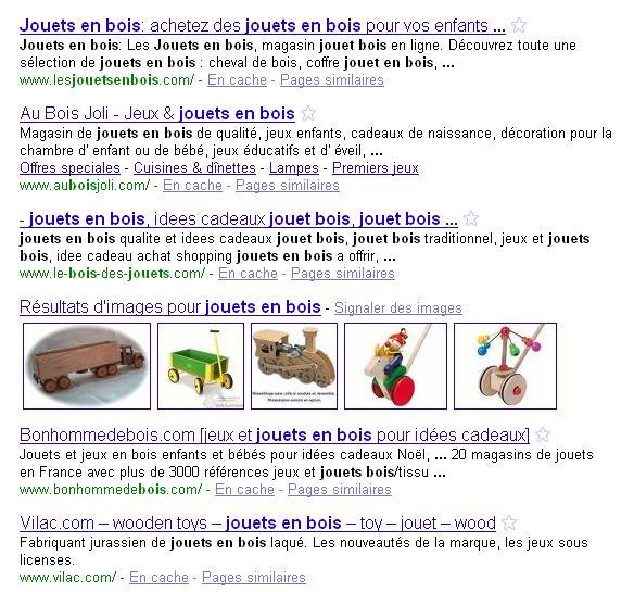 Recherche google sur les jouets en bois