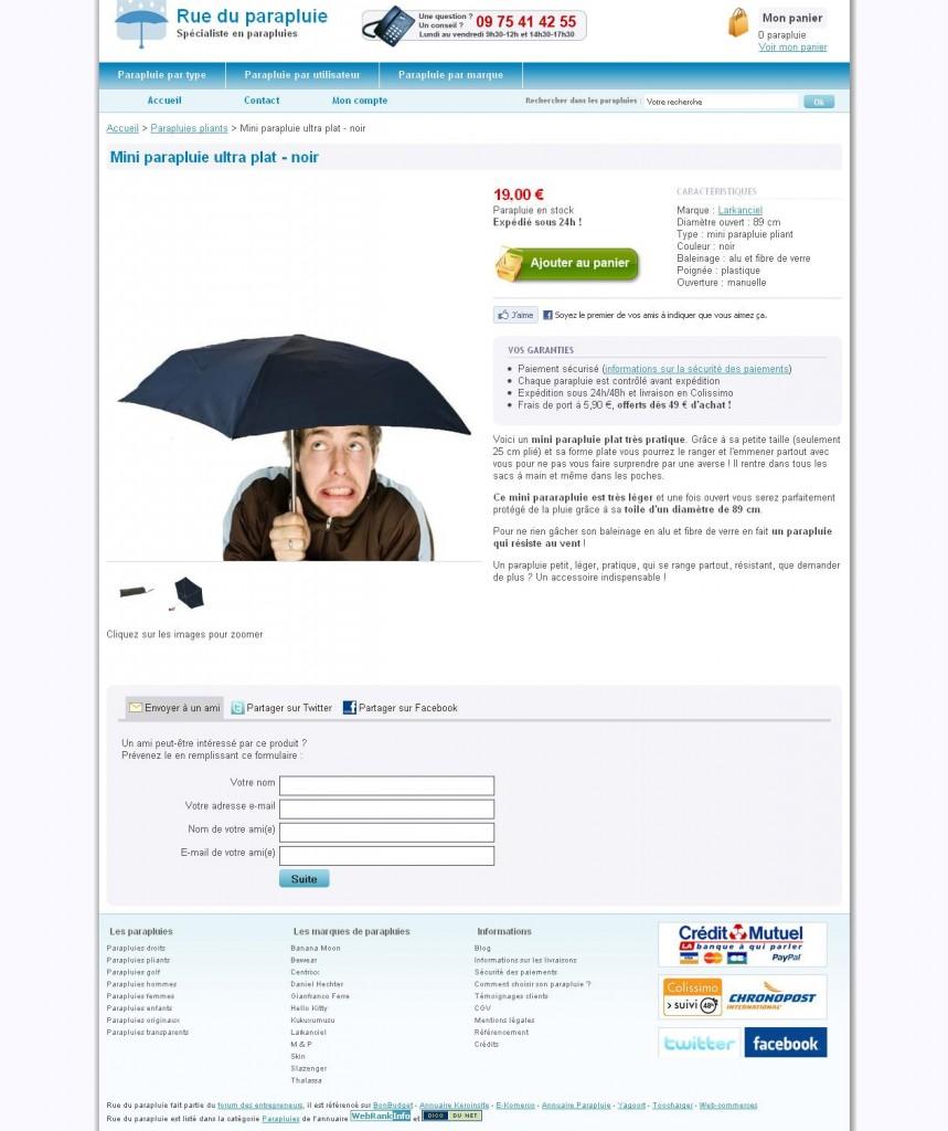 Mini parapluie ultra plat - noir - Parapluies pliants - Rue du parapluie_1274886888098