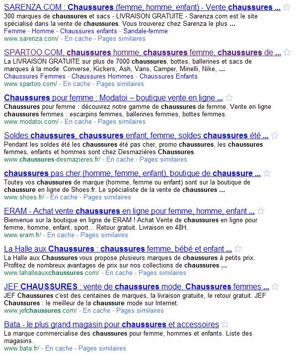 resultats google chaussures - 2ème partie de la construction de votre stratégie de référencement