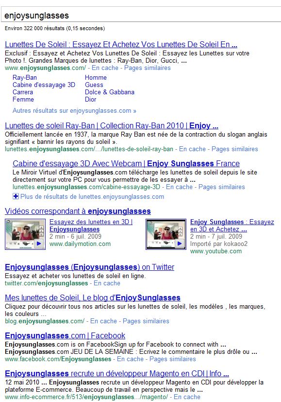resultats google enjoysunglasses com - Comment truster les résultats de Google sur une requête ?
