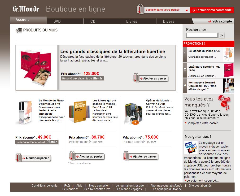 boutique du monde - Test de la boutique E-commerce du journal LeMonde.fr