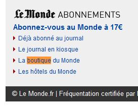 boutique lemonde fr - Test de la boutique E-commerce du journal LeMonde.fr