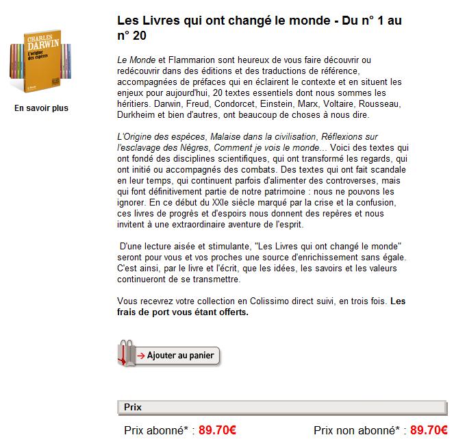page produit lemonde - Test de la boutique E-commerce du journal LeMonde.fr
