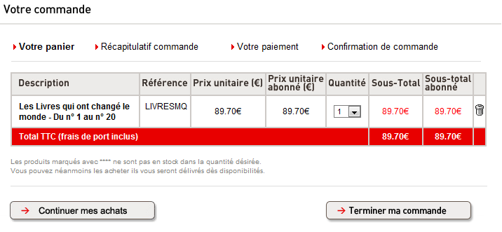 panier lemonde fr - Test de la boutique E-commerce du journal LeMonde.fr