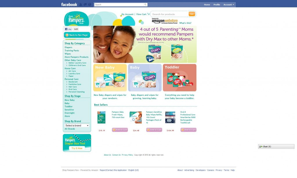 Shop Pampers Now - Powered by Amazon on Facebook_1286182689757