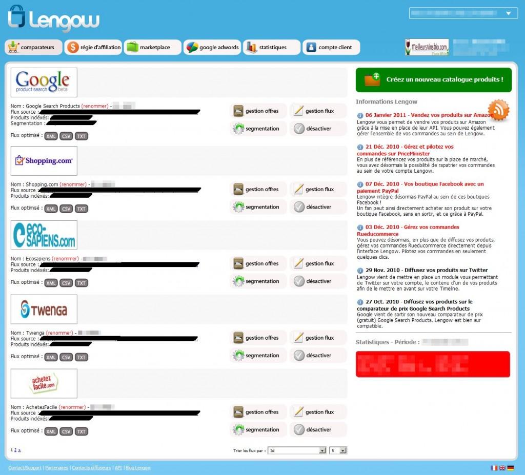 back office lengow 1024x927 - Lengow : retour sur 1 mois d'utilisation
