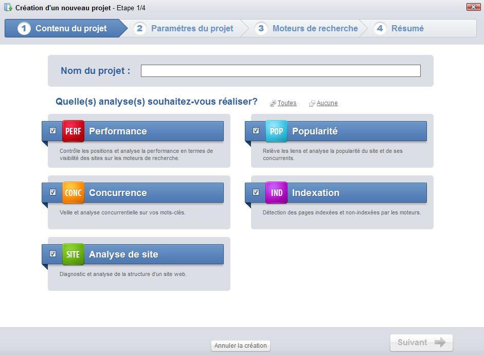 creer un projet seeyourank - Test du logiciel Yooda SeeUrank