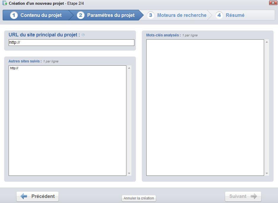 etape 2 creation projet - Test du logiciel Yooda SeeUrank