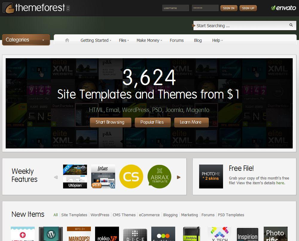 homepage themeforest - Themeforest.net, le site e-commerce dédié aux templates et aux chartes graphiques