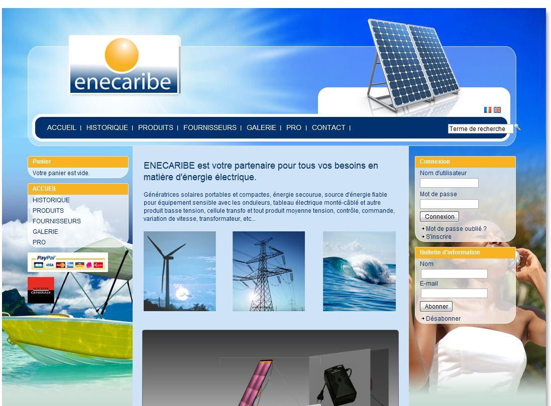 homepage enecaribe - 7 boutiques tournant sur Box E-commerce de la Poste