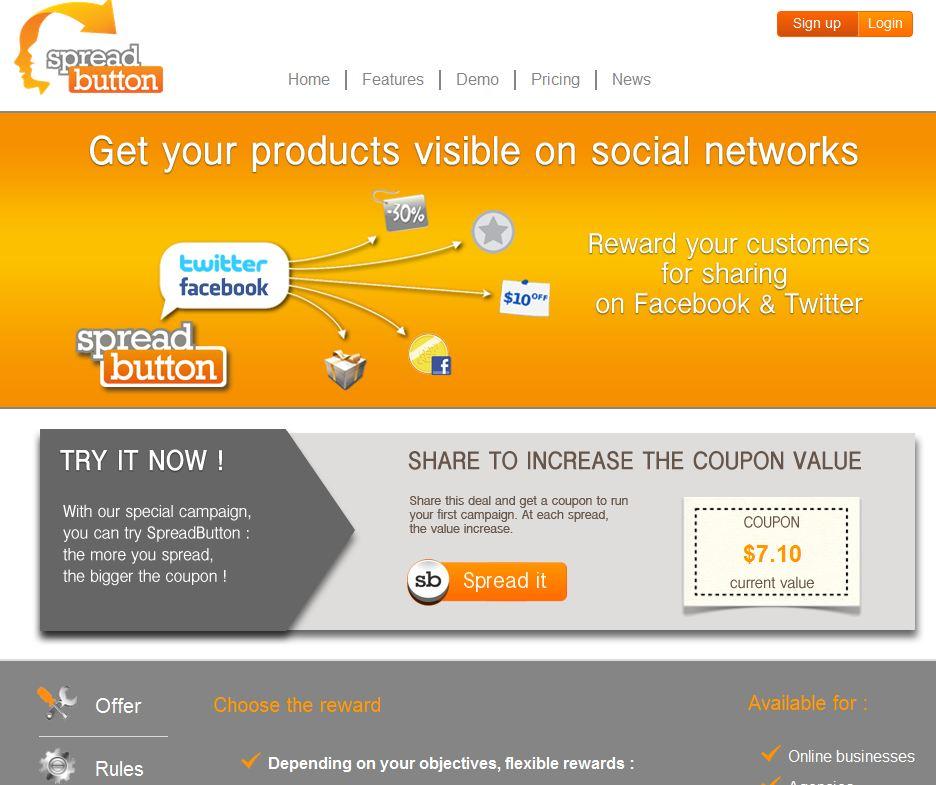 homepage spreadbutton - Spreadbutton ou comment diffuser des promos sur les réseaux sociaux ?