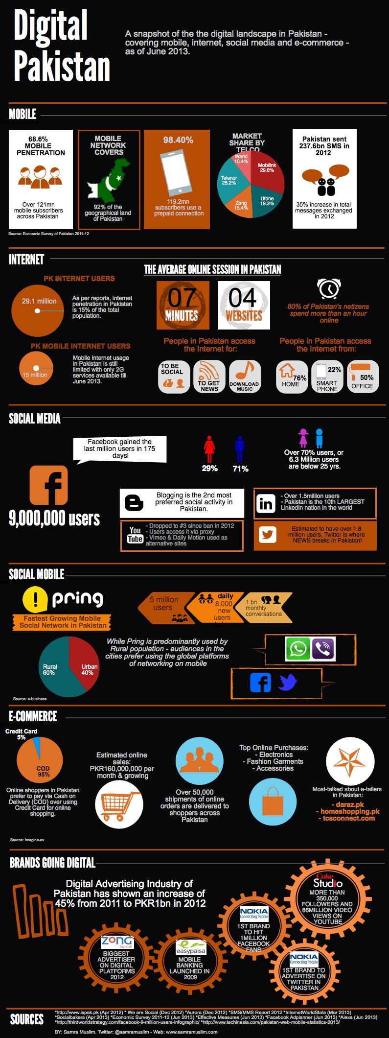Digital Pakistan infographic June 2013 - Le E-commerce au Pakistan
