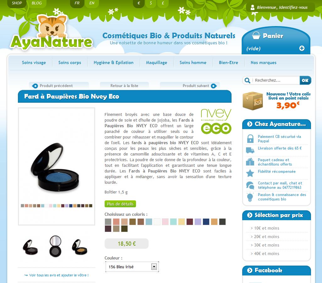 fiche produit Fard à Paupières Bio Nvey Eco Ayanature - 7 exemples de fiche produit