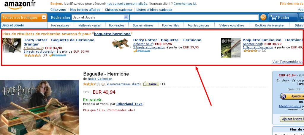 cross selling amazon depuis recherche google 1024x454 - Cross Selling intelligent depuis une recherche