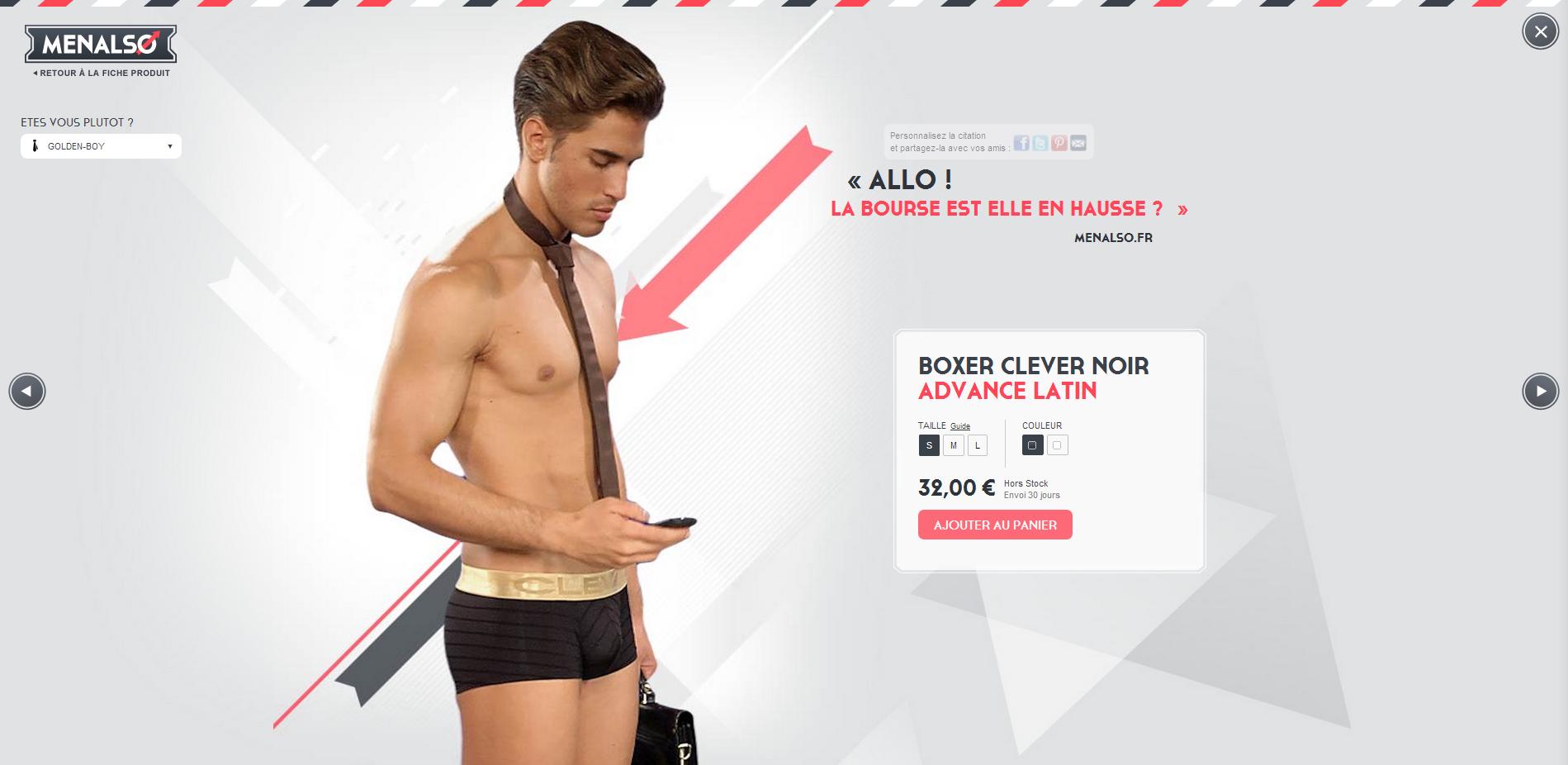 Boxer Clever Noir Advance Latin Menalso - Menalso , un peu de nouveautés dans une fiche produit