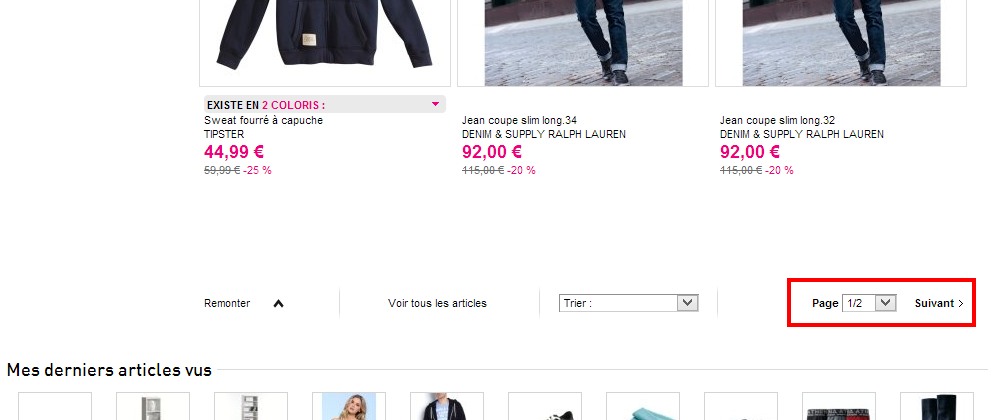pagination La Redoute - Et si on supprimait la pagination sur les sites e-commerce ?