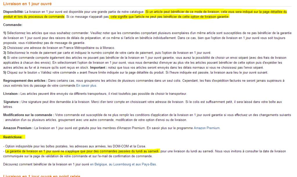 amazon conditions detaillees livraison 1 jour garantie1 1024x611 - Entre la promesse et les CGV - l'exemple déceptif d'Amazon sur les délais de livraison Premium