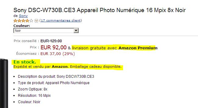 amazon fiche produit - Entre la promesse et les CGV - l'exemple déceptif d'Amazon sur les délais de livraison Premium
