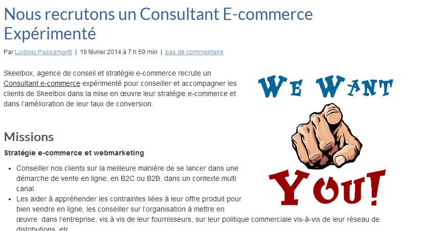 Nous recrutons un Consultant E commerce Expérimenté – Stratégie Conseil Optimisation E commerce Agence SKEELBOX Paris - [JOB][CDI] Consultant E-commerce senior orienté conversion