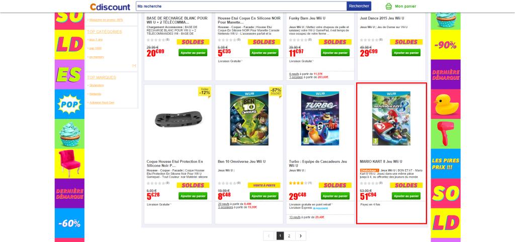 Soldes2 Wii U Wii U Achat Accueil Jeux vidéo Soldes Cdiscount 1024x482 - Vendeurs Marketplace Cdiscount, attentions aux petits arrangements avec les soldes