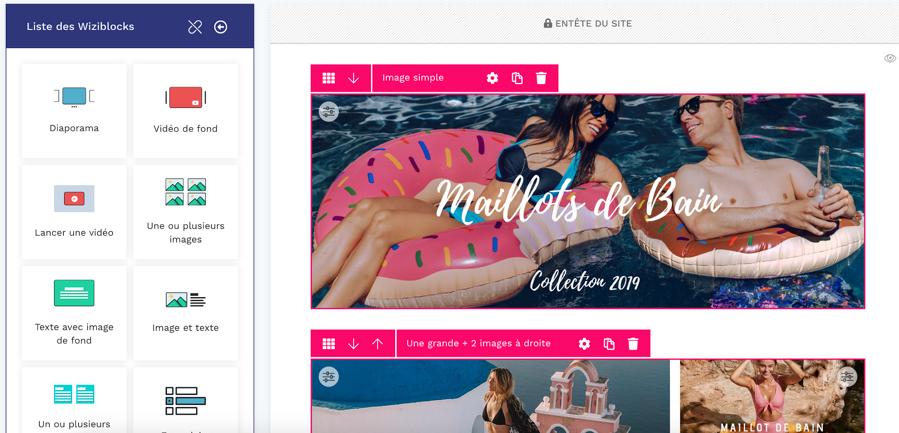 wizi2 - Wizishop permet de créer une boutique e-commerce tout en glissé / déposé !